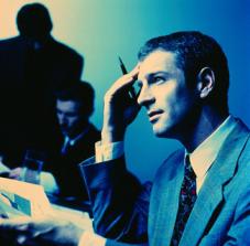 Conferencia, ejecutivo pensando